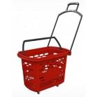Кошница за пазаруване с колелца 38 л. Червена