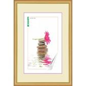 PVC Фото рамка с профил в цвят чам и златен кант